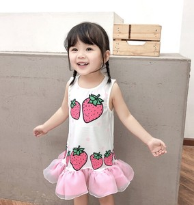 Girl Sleeveless One-piece Dress Strawberry