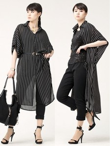 Sakizome Stripe Over Shirt One-piece Dress