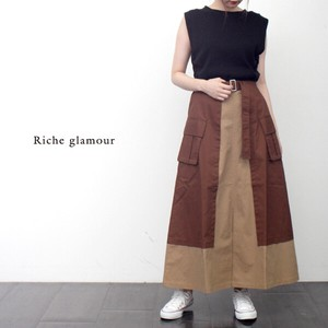 A/W Twill Color Scheme Flare Long Skirt