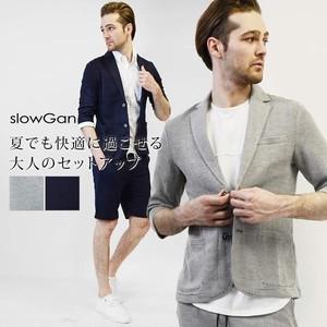 ワッフル編みショーツセットアップ メンズ 半袖 夏 夏服 テーラード 七分袖 クールビズ