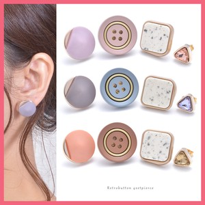 Retro Button Mix 4Pcs set Pierced Earring