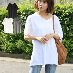 Cut Big T-shirt V-neck Short Sleeve Larger Top T-shirt