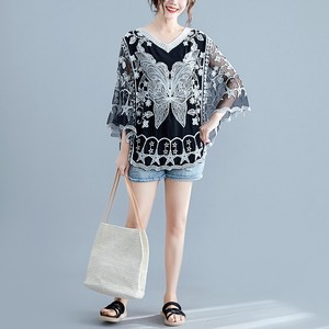 Leisurely Lace Butterfly Embroidery Poncho Top Blouse 2 Colors Clothing