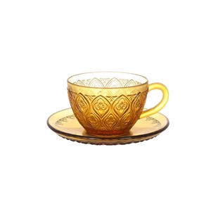 "[DULTON] GLASS CUP & SAUCER ""FIORE"" AMBER"