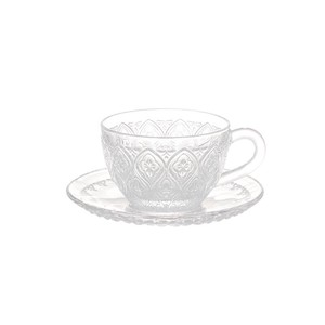 【DULTON ダルトン】GLASS CUP & SAUCER ''FIORE'' CLEAR