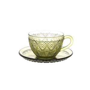 "[DULTON] GLASS CUP & SAUCER ""FIORE"" GREEN"