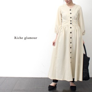 Twill Neck Long One‐piece dress.