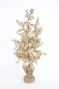 Christmas Artificial Flower Flower Art Tree Stand Pine Gold