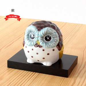 KUTANI Ware Wood Tray Owl Ornament Interior Owl Owl Fortune Hand-Painted