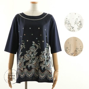 [2019NewItem] Front Shirt Flower Embroidery Switching Top