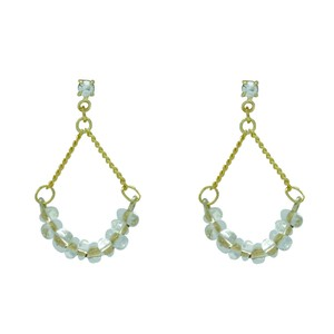 Clear Beads Chain Pierced Earring Made in Japan