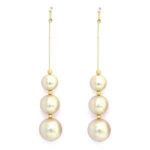 3 Types Cotton Pearl Long Pierced Earring