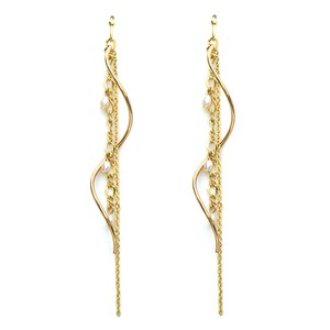 Natural stone Chain Wave Cenesthesia Long Pierced Earring