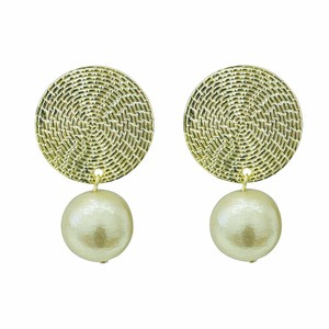 Spiral Pattern Metal Parts Cotton Pearl Pierced Earring