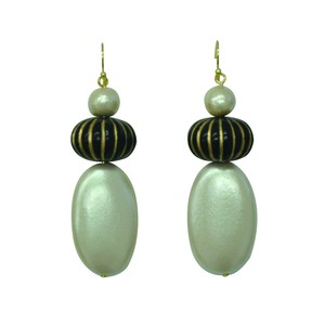 Wood Pearl Shibori Beads Matching Swing Pierced Earring