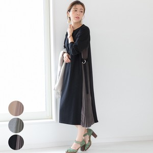 [2019NewItem] Belt Attached Pleats Switching One-piece Dress mitis