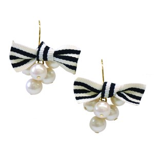 Imitation Pearl Ribbon Pierced Earring Made in Japan