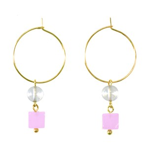 Spring Color Natural stone Hoop Pierced Earring