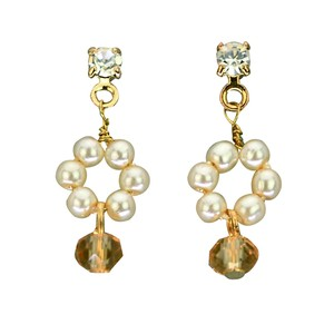 Colorful Beads Accent Loop Pearl Pierced Earring
