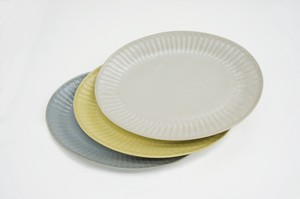 Pleated Pottery OVAL PLATE M [Bread & Rice / Mino Ware]