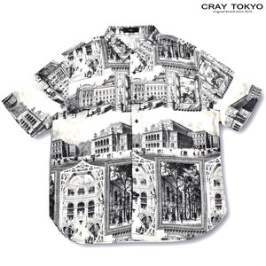 Multi Graphic Shirt Cape White Black