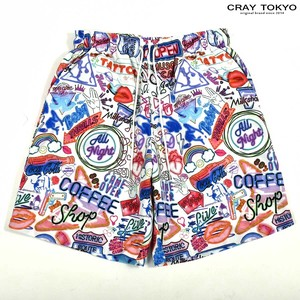 Multi Graphic Shorts Neon Graph White