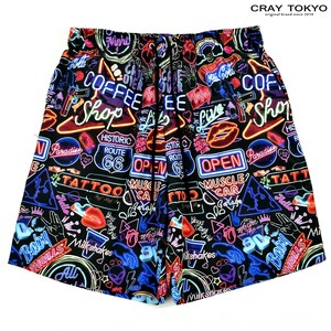 Multi Graphic Shorts Neon Graph Black