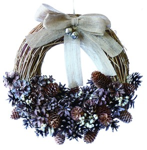 【2019Christmas】Jute Ribbon Wreath-White Berry