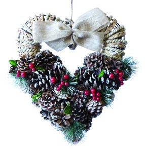 【2019Christmas】Ribbon Heart Wreath-Pine Red Berry