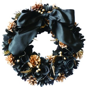 【2019Christmas】【LED】Ribbon Wreath-Black & Gold