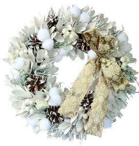 【2019Christmas】【LED】Ribbon Wreath-White Wood & Cotton