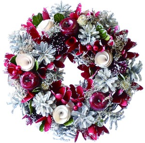 【2019Christmas】Wreath-White Pinecone Red Apple