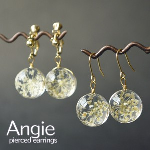 Dry Flower Clear Glass Ball Pierced Earring Earring