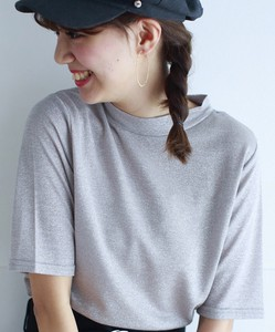 lame Jersey Stretch Stand Neck Pullover