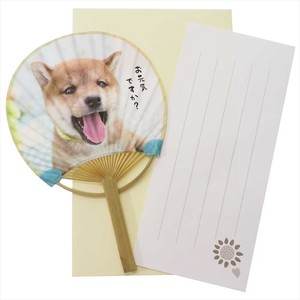 "Greeting Card Shiba Dog Letter paper ""Ippitsusen"" Attached Mini Japanese Fan Card Fine"