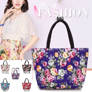 Tote Bag Flower Fastener Botanical Flower Print Bag 4 Colors