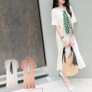 【夏の新作】(即納)ドット柄スカーフ×裾フリルワンピース