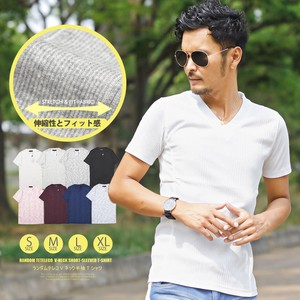 T-shirt Men's V-neck Short Sleeve Top Short Sleeve T-shirt Teleko Plain