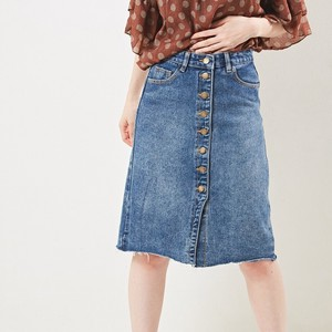 [2019NewItem] Button Attached Basic Denim Skirt