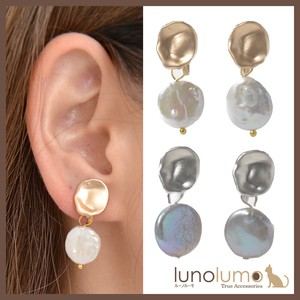 Earring Ladies Freshwater Pearl Pearl Pearl Gray Gold Silver