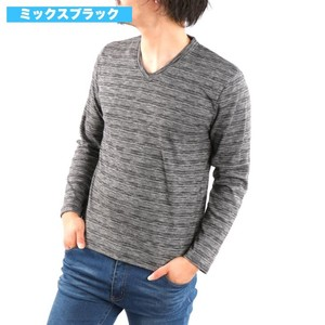 Gigging V-neck Long Sleeve T-shirt smooth Plain Long T-shirt Cut And Sewn Top