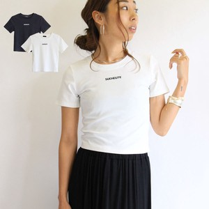 Embroidery Short Top T-shirt Short Sleeve Fit T-shirt