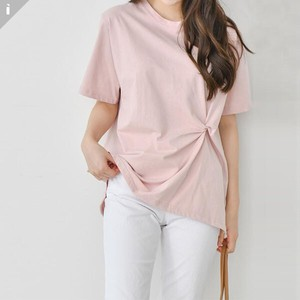 Twist Short Sleeve U-neck Top T-shirt