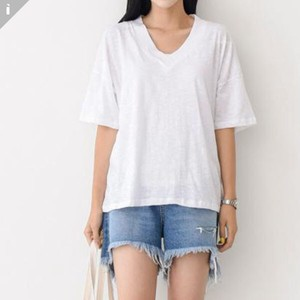 Plain Short Sleeve U-neck Top T-shirt