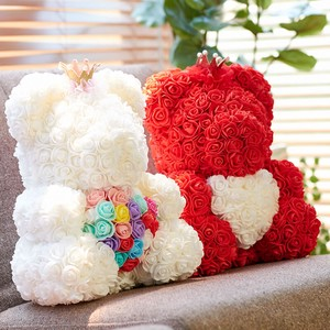 Rose Crown Heart Artificial Flower rose Teddy Bear Crown Interior Welcome
