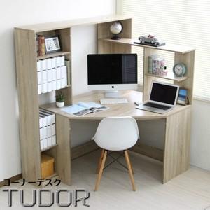 北欧風 木目オーク L字型 コーナーパソコンデスク 書棚付き リニューアルサイズ