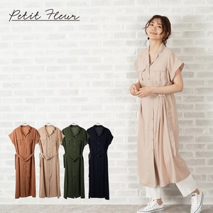 S/S Belt Attached Shirt One-piece Dress Color Petit Rule