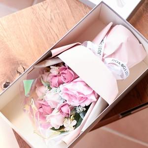 ソープフラワー ローズ 花束 化粧箱付き 造花 ブーケ アレンジ バラ 薔薇 シャボンフラワー