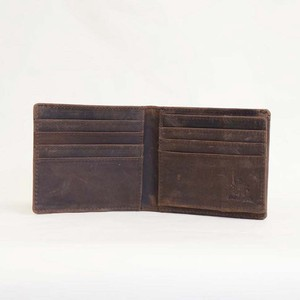 Cow Leather All Leather Compact Clamshell Wallet Genuine Leather Men's Ladies Brown