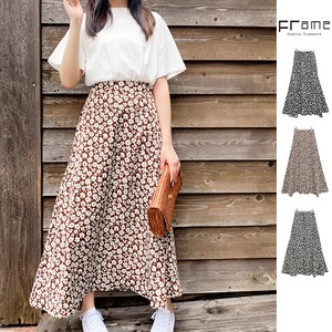 Floral Pattern Flare Skirt